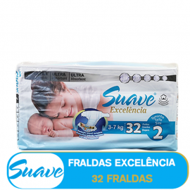 SUAVE FRALDA EXCELÊNCIA - (2) 3-7kg/ (85400)  - 32 FRALDAS