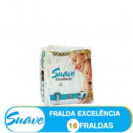 SUAVE FRALDA  TAMANHO 3 DE 4-10kg/ (85000) - 16 FRALDAS