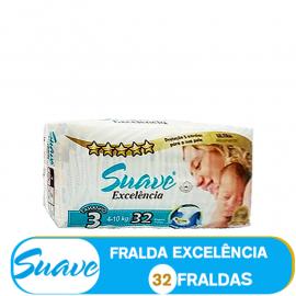 SUAVE FRALDA  TAMANHO 3 DE 4-10kg/ (85001) - 32 FRALDAS