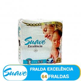 SUAVE FRALDA  TAMANHO 3 DE 4-10kg/ (85002) - 64 FRALDAS