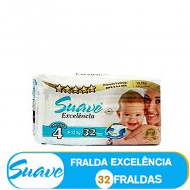 SUAVE FRALDA  TAMANHO 4 DE 9-15kg/ (85101)  - 32 FRALDAS