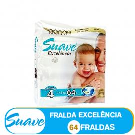 SUAVE FRALDA  TAMANHO 4 DE 9-15kg/ (85102) -  64 FRALDAS
