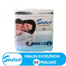 SUAVE FRALDA  TAMANHO  6  DE >15kg/ (85302) - 64 FRALDAS