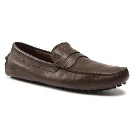 LACOSTE LEATHER MOCCASIN BROWN/BLACK