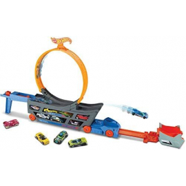 Hot Wheels Transporter Truck Mobile Play Set Large Loop Collapsible Launcher Room