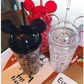 Copo com palhinha acrilico com cabeça do Mickey