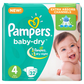 Pampers Baby Dry S4 9-18kg 32UN